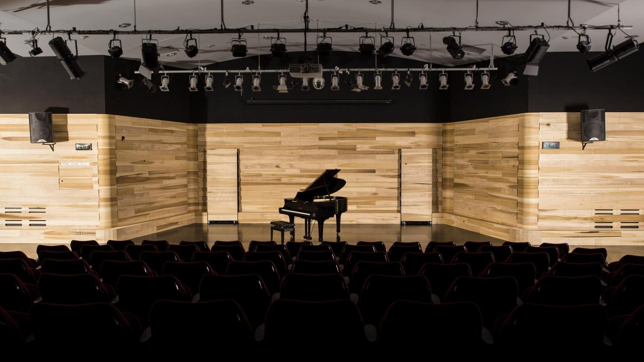Anna Meadows American tulipwood uplifts and updates the performance hall at this Northern Beaches Colleges Senior Campus in Freshwater.  On seeing the horizontally positioned boards of solid American tulipwood, staggered in width, flowing around the stage in the Performance Theatre at Freshwater Senior Campus, you might correctly assume that this was not the creation of a standard acoustic paneling company. The design was conceived and created by young furniture designer Ben Percy from 3 cubic metres of American tulipwood.