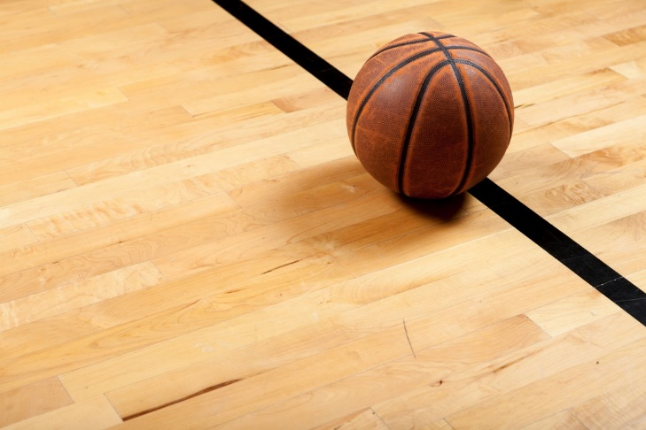 The basketball court floor made by American Hard Maple