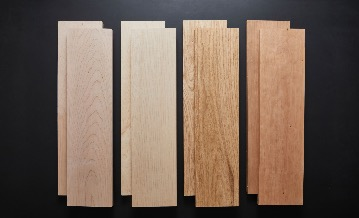 From left to right: American soft maple, hard maple, red oak and cherry